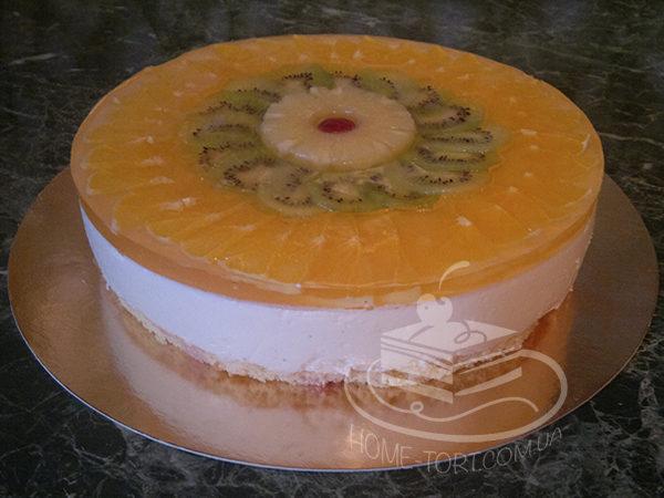 Торт Творожный с фруктами в желе