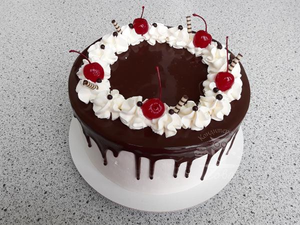Декорируем вишнями торт Шварцвальд | рецепт