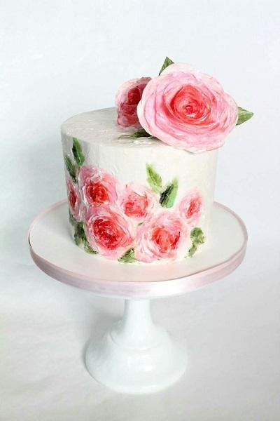 торт с ручной росписью | Тренды дизайна тортов 2018-2019 | Блог | Торт на заказ